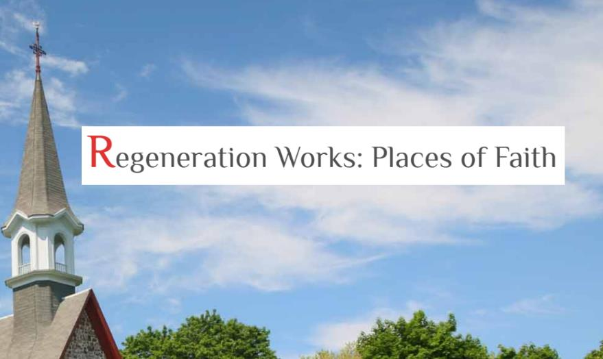 Regeneration Works logo on background of blue sky framed by church steeple and treetops.