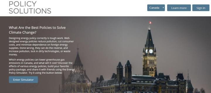 Landing page of the Energy Policy Similator.