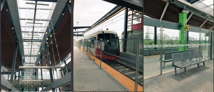 Three photos show a newly renovated light rail station and train.